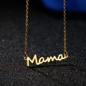 Mama Cursive Gold Necklace